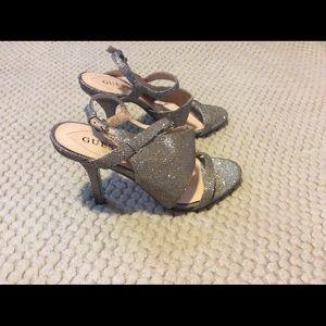 Guess Geneva gold glittery heels